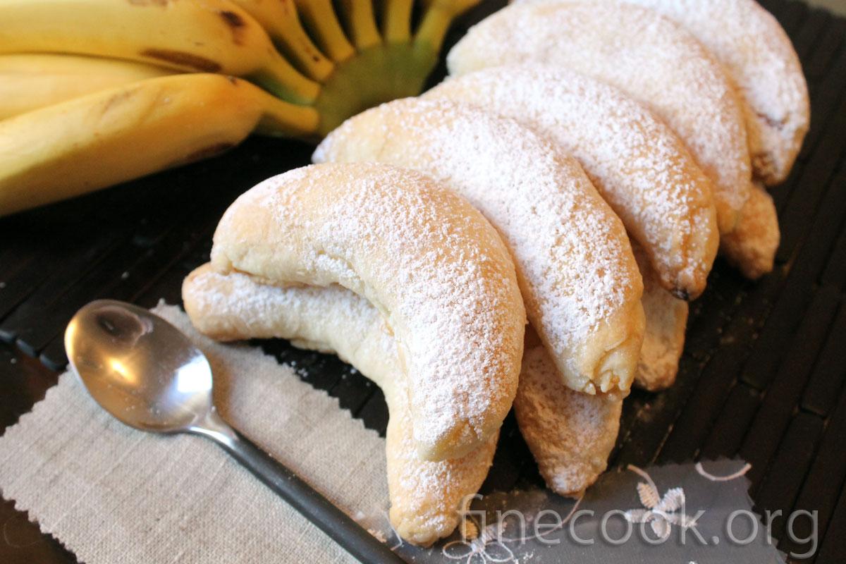 пирожное банан с творогом