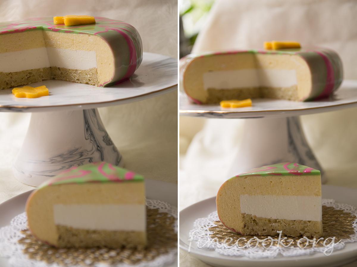 Торт с муссом из манго